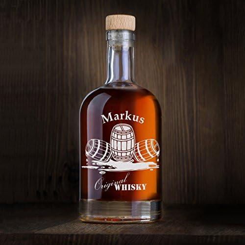 polar-effekt Botella de whisky personalizada de 700 ml con grabado, regalo para hombres, jarra de whisky con corcho, diseño de tres barriles