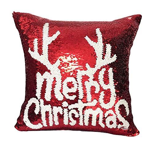 Zolimx Federe Cuscini Natale, Cuscini Natalizi Reversibile Flip Paillettes Gettare Cuscino Caso Divano Auto Cuscino Copertina Casa Decorazione