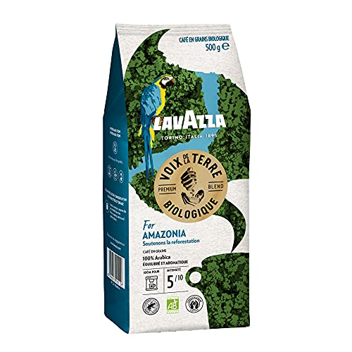 Lavazza Café en Grains Les Voix de la Terre For the Amazonia, Café en grains 100% Arabica Biologique, Torréfaction Moyenne, Paquet de 500g