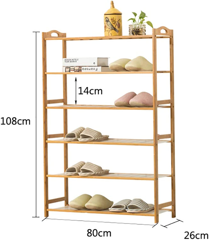 shoes Bench Organizing Rack Bamboo shoes Shelf 6 Layers dustproof Solid Wood Bamboo Unit Shelf Home economical shoes Storage Rack (Size   80  26  108cm)