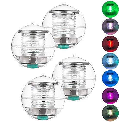 Coquimbo Pool Licht Solar Lampe Unterwasser Licht Teichlicht Schwimmbecken Licht Farbwechsel Ball Lampe für Garten, Baum, Teich und Schwimmbad (4 Stück)