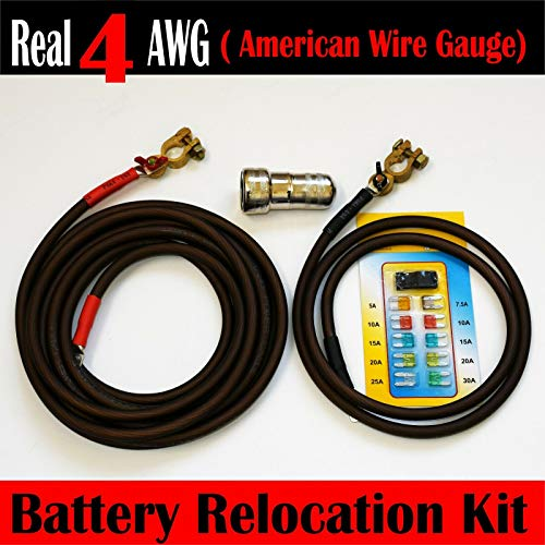 Battery Relocation Kit, Real # 4 AWG Cable, Top Post 16 FT RED/ 4 FT BLACK