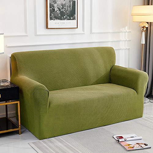 Fsogasilttlv Funda de sofá elástica 2 plazas 1 Uds Funda de cojín de sofá de Color sólido Funda de poliéster, Asiento Protector de Muebles para Sala de Estar