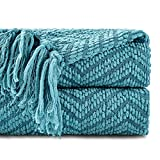 Battilo Boon Knitted Zig-Zag Textured Tweed Throw Couch Cover Blanket (Turq-Green, 50' x 60')