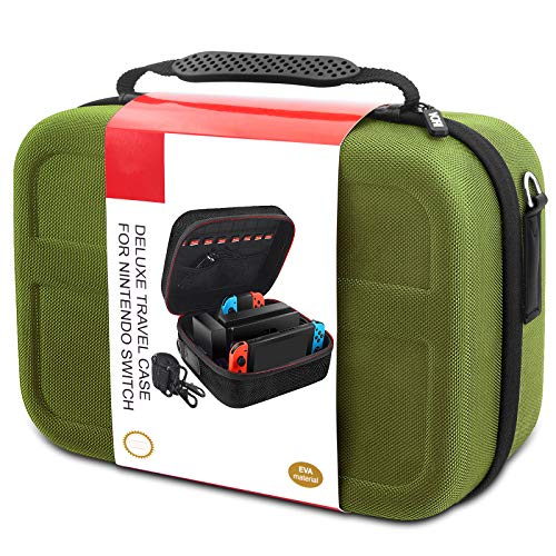 Carrying Storage Case for Nintendo Switch, Hard Shell Full Protective Travel Cases fit Switch Console & Accessories, Green