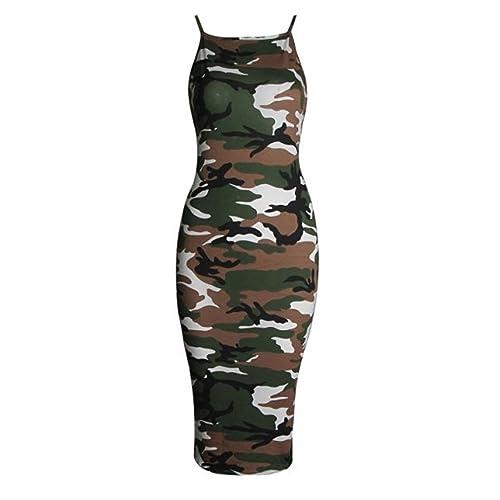 36c0e9a60a9c4 RM Fashions Womens Printed High Square Neck Strappy Camisole Fit Bodycon  Midi Dress (Small-