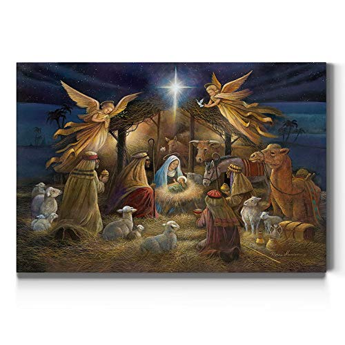 Renditions Gallery Nativity Scene Wall Art, Christ in a Manger, Jesus Christ, Mary, & Joseph, Religious Christmas Scene, Gallery Wrapped Canvas Decor, Ready to Hang, 12 in H x 18 in W, Made in America