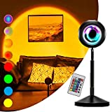 Sunset Light Projector with Remote Control, 16 Static / 4 Dynamic Colors, UFO Shape, Rainbow Projection Lamp, USB Night Light,Romantic Floor Lamps for Bedroom Living Room Decors