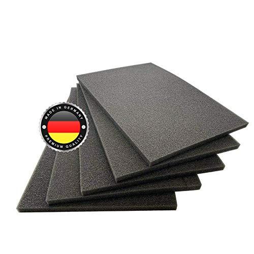 WS · SYSTEM Schaumstoff-Zuschnitt in 50 x 50 x 1,8 cm – vielseitige schwarze Schaumstoffplatte MADE IN GERMANY zum Basteln, Dämmen, als Werkzeugeinlage zum selbst zuschneiden