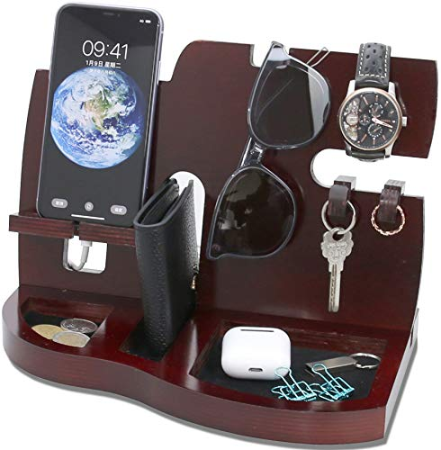 Red Wooden Phone Docking Station with Key Holder, Wallet and Watch Organizer Men's Gift Husband Wife Anniversary Dad Birthday Nightstand Purse Father Graduation Male Travel Idea Gadgets