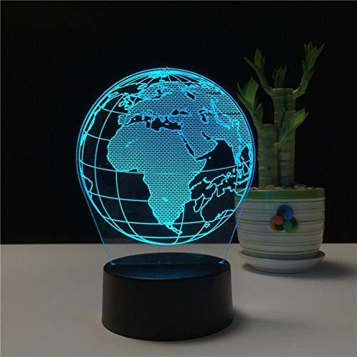 WZYMNYD Terre Créative Globe 3D Holograma acrylique 7 Couleur Lampe de Chambre De Chevet Luz De LED Lampe USB Veilleuse De Nuit Decoracao Casa Lampka