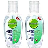 2 bouteilles de gel désinfectamt pour les mains jetable contenant 75% de gel bactériostatique désinfection à l'alcool stérilisati0n savon liquide pour les mains portable sans lavage 50 ml