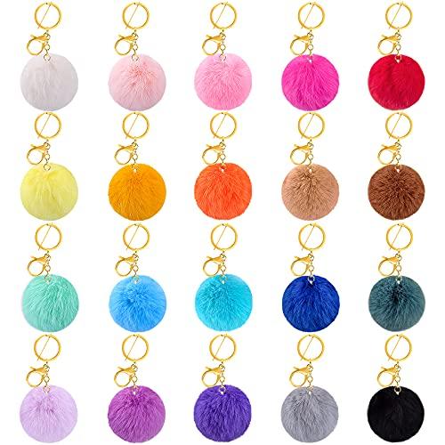 BQTQ 20 Stück Schlüsselanhänger Plüsch Pompom Ball Kunstfell Bommel Fellbommel Fellpompon für Mützen Taschen Zubehör, 20 Farbe, 7 cm