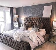 Beds & Co Velvet Upholstered Regal Ambassador Bed Frame and Headboard - Single/Double/Kingsize/Super...