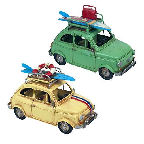 Set de 2 Figuras Decorativas de Metal Coche Tabla Surf . Adornos y Esculturas. Vehículos Retro Coleccionables. Decoración Hogar. Regalos Originales. 20 x 9,50 x 12,50 cm