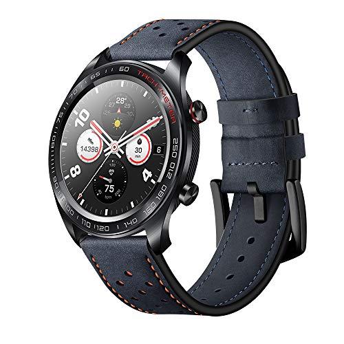 Aisport - Cinturino di ricambio in pelle da 22 mm, da uomo e donna, per Huawei Watch GT/Honor Watch Magic/Samsung Galaxy Watch 46 mm/Gear S3/Ticwatch Pro, Blue