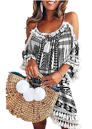 Kleid Kolylong® Damen Elegant Trägerloses Quaste Kurzarm Kleid Retro Schulterfrei Rückenfrei Kleider Kurz Boho Kleid T- Shirt Kleid Mini Sommerkleid Strandkleid Party Abendkleid