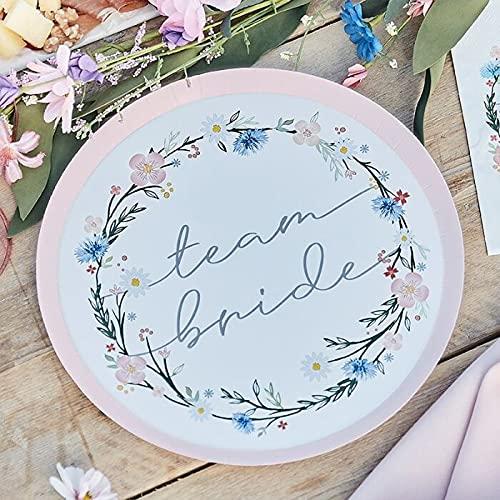 Platos de fiesta Team Bride Boho Flower con diseño de flores, platos de papel desechables, vajilla JGA en rosa y pastel, decoración de mesa, despedida de soltera, accesorios para fiestas de JGA