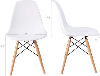 Rajtai Shree Rajtai and Classic Designer Black Dining/Living Room Chair -Set of 2 (Standard, White)