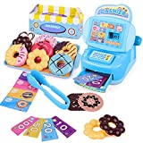 JX Toy Cash Register Shopping Pretend Play Money Machine with Donuts,Biscuit,Tray,Food Tongs,Sim Currency,Food Packaging Box and Sim-Cash Register for Kids Boys Girls Gifts, Interactive Learning