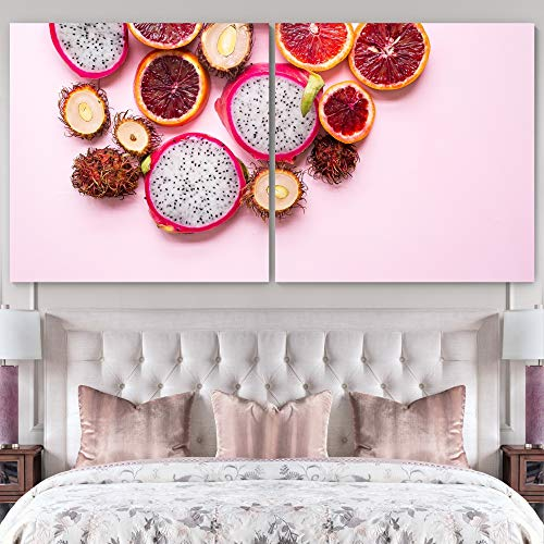"""bestdeal depot Fruits / Modern Art Multicolor Photography 2 Panel Canvas Wall Art Prints for Living Room,Bedroom Ready to Hang - 24""""x24"""" x 2 Panels"""