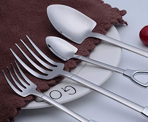 HYCy® 4 stücke Mini Multifunktions Löffel Gabel Outdoor Camping Wandern Reise Picknick BBQ Edelstahl Steak Tasche Geschirr,A