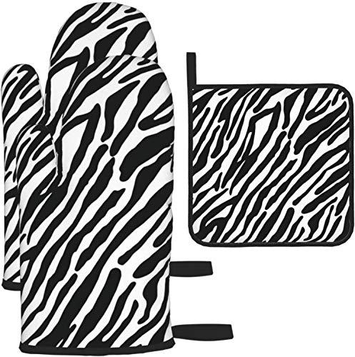 MODORSAN Manoplas y Soportes para ollas con patrón de Cebra, 3 Piezas de Cocina, Resistentes al Calor, Antideslizantes, para cocinar, Hornear, Barbacoa