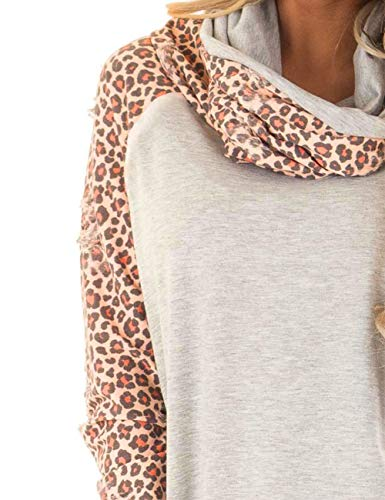 Fashion Shopping Blivener Women's Casual Sweatshirts Long Sleeve Leopard Print Tops Cowl Neck
