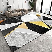 Habitacion Alfombra Pie De Cama Amarillo gris negro alfombra geométrica sala de estar moderna área grande estudio comedor pasillo antideslizante resistente al desgaste lavable a máquina Alfombras Pelo