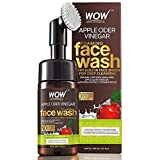 WOW Skin Science Apple Cider Vinegar Foaming Face Wash - with Organic Certified Himalayan Apple Cider Vinegar - No Parabens, Sulphate, Silicones & Color (with Built-in Brush),150ml