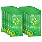Care Touch Alcohol-Free Hand Sanitizing Wipes - 12 Pouches, 240 Wipes - Moisturizing Hand Wipes with Vitamin-E and Aloe Vera - Great for Babies and Adults, Safe for All Skin Types