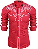 COOFANDY Mens Long Sleeve Shirt Embroidery Slim Fit Casual Button Down Shirt,01-red,Small
