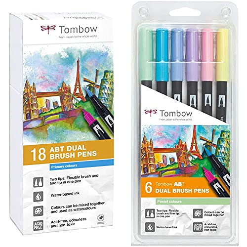 Tombow Abt-18P-1 Fiber Pen Dual Brush Pen Con Dos Puntas Juego De 18 Colores Primarios + Set De 6 Rotuladores Dual Brush Colores Pastel