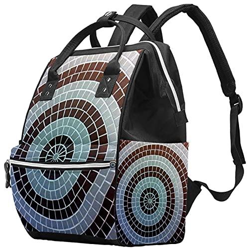 Yuelai Borsa per pannolini Zaino per laptop Zaino da viaggio Zaino da viaggio per donna, concentric-circle-shape-mosaic-wall-white-black-pa