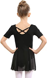 STELLE Girls Ballet Short Sleeve Dress Leotard for Dance, Gymnastics and Ballet(Toddler/Little Girl/Big Girl)