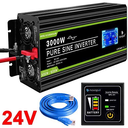novopal® Spannungswandler24V auf 230V 3000W/6000W Reiner Sinus Wechselrichter -Inverter Konverter mit 2 EU Steckdose und 2.1A USB-Port - inkl. 5 Meter Fernsteuerung mit LCD Bildschirm