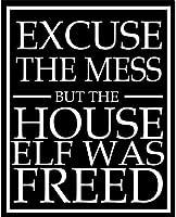 インチすみませんが、家のエルフは解放されました錫サインヴィンテージ面白い生き物鉄の絵金属板人格ノベルティ