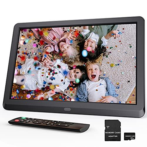 Digitaler Bilderrahmen 10 Zoll, Elektronischer Bilderrahmen mit 32GB SD Karte, Multifunktionaler Fotorahmen zum Abspielen von Video Musik Kalender Wecker, Auto-Drehung, Fernbedienung