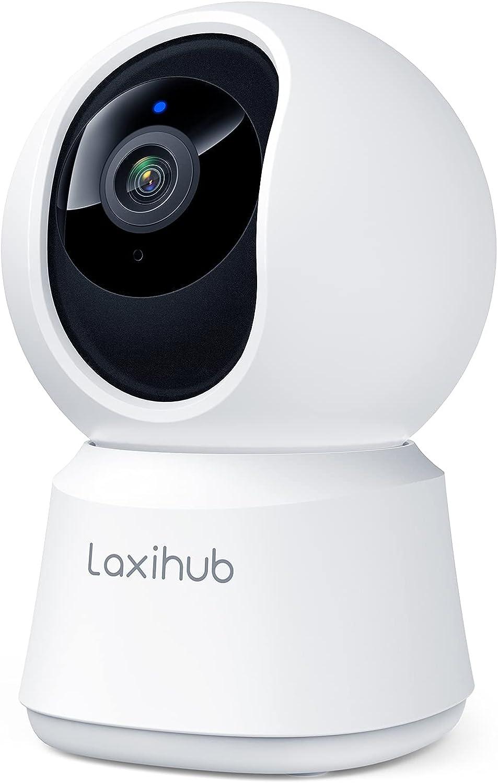 Laxihub Cámara WiFi Interior 1080P HD Cámara Inteligente Cámara Vigilancia IP Cámara WiFi Cámara de Vigilancia P2 de Audio Bidireccional Compatible con Alexa y Google Assistant