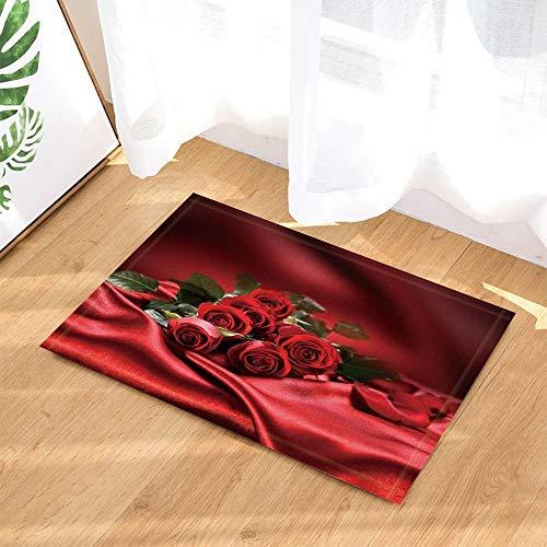 JHTRSJYTJ Romantische Valentinstag dekorative Rose Blume rot seidenblatt rot seidenschlupf fußmatte innentür Matte Bad Matte 15.7x23.6in