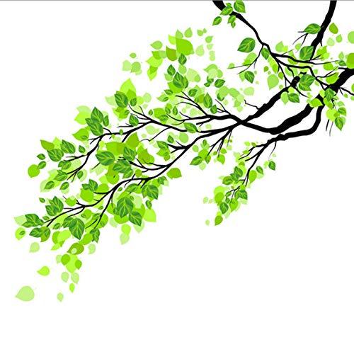 Modonghua Fenster-Glasaufkleber, grüne Blätter, Ast, Glasaufkleber, Pflanzen-Wandaufkleber, Milchglasfolie, halbtransparente Schiebetür, Fensterfolie, PVC, Heimdekoration