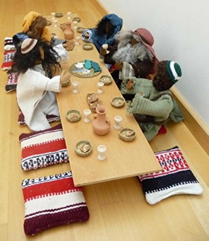 Abendmahltisch für Erzhlfiguren und Egli-Figuren komplett gedeckt mit allem Zubehr