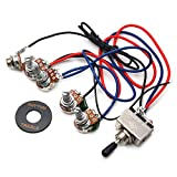 GETMusic Guitar Wiring Harness Prewired 2V2T 3 Way Toggle Switch Jack 500k Pots for Gibson Replacement Guitar
