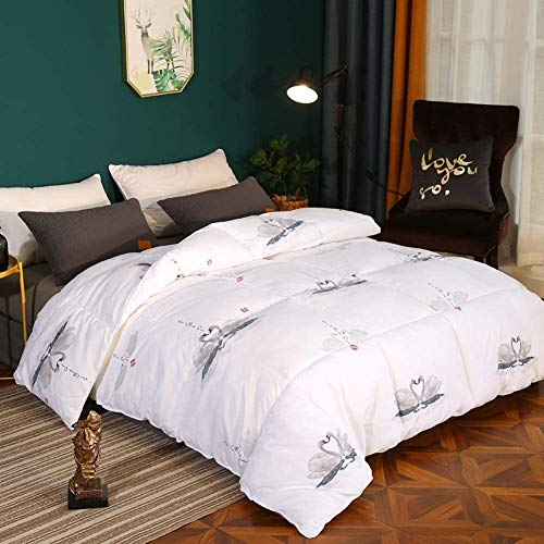 Super Swan Printing Winter Thicken 95% White Goose Down Duvet Double Size 12.5 Tog All Seasons Duvet Insert Classic Quilt Hypoallergenic Cotton Shell Warm