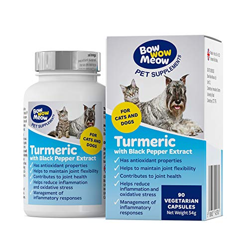 Bowwow Turmeric Pet Supplements for Dogs & Cats | 500mg per Serving | 90 Vegetarian Capsules with Curcumin & Black Pepper | Joint Care Tablets for Dogs