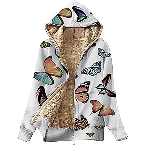 Womens Tops Butterfly Print Hoodie Plus Size Long Sleeve Zipper Up Coat Fuzzy Fleece Jacket Winter Warm Cozy Outwear White