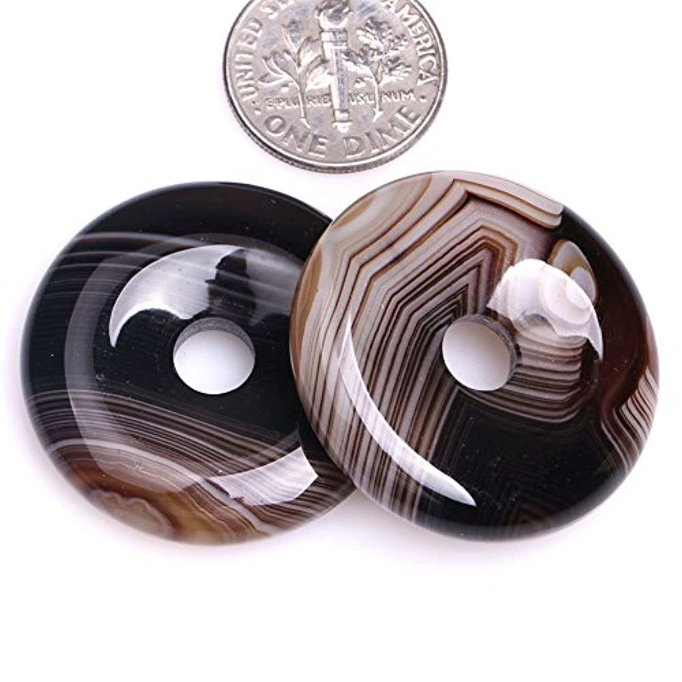 GEM-inside Natural 30mm Donuts Rings Coffe Brown Onyx Sardonyx Agate Stone Beads for Jewelry Making 1 PCS