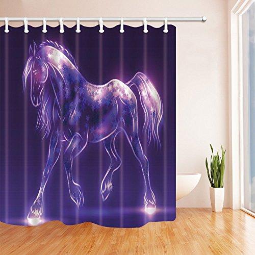 Fansu Duschvorhang Anti-Schimmel Wasserdicht Antibakteriell Tiere 3D Drucken, Polyester Transparent Karikatur Vorhang für Badzimmer Digitaldruck mit 12 Duschvorhangringe (180x200cm,Pferd)
