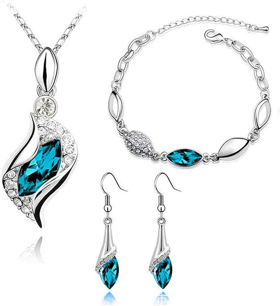 Necklace Earrings Bracelets Tears of Angels Style Diamond Crystal Elegant Women Girls Jewelry
