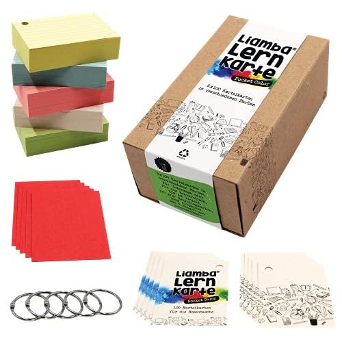 Liamba Lernkarte Pocket Color | 5 x 100 Karteikarten mit praktischen Ringen | Recyclingkarton | DIN A8 Format | 7,4 x 5,2 cm | in 5 Farben | 160g/m² | liniert | in Deutschland hergestellt